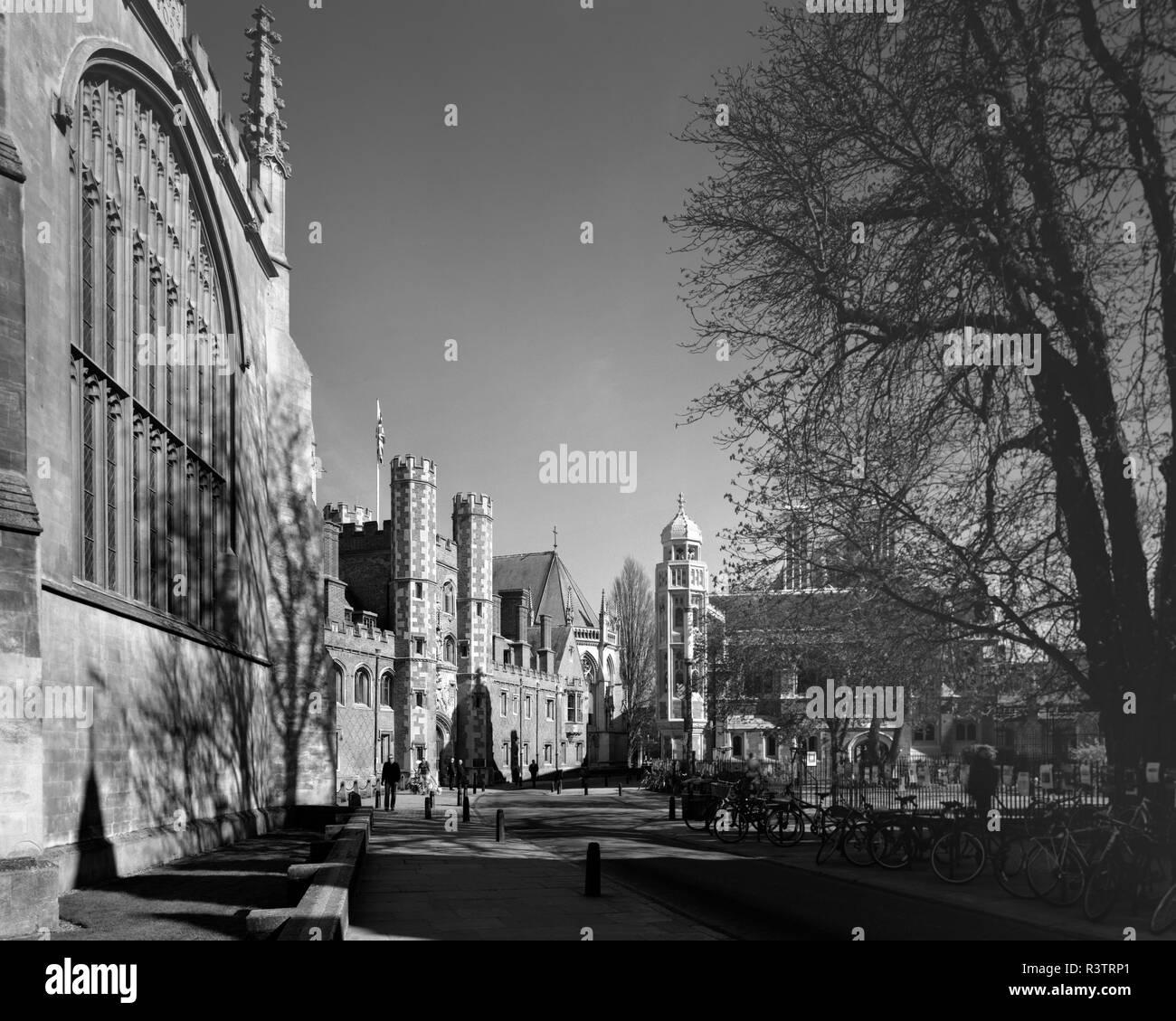 St Johns Street Cambridge England in winter sunshine - Stock Image