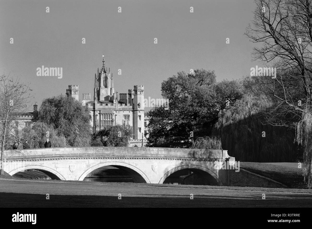 Trinity Bridge and St Johns College Cambridge England - Stock Image