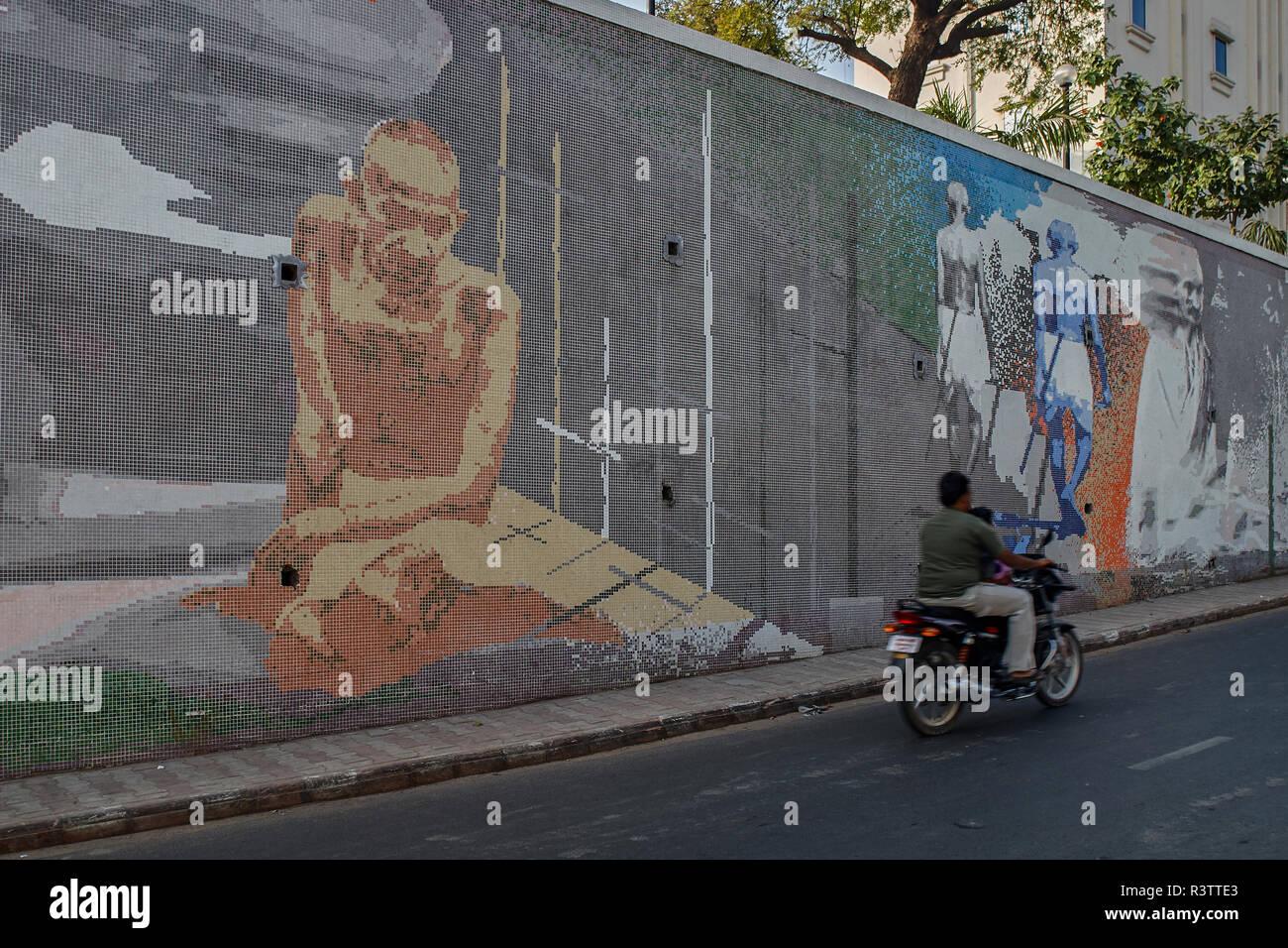 16-Dec-2007-mosaic venetian tiles Painting of Mahatma Gandhi ; Ahmedabad ; Gujarat ; India asia - Stock Image