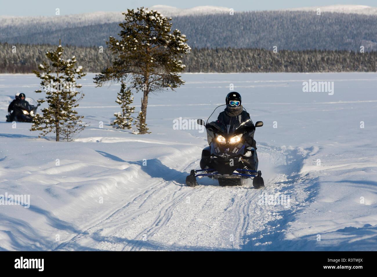 Snowmobile, Jukkasjarvi, Sweden. - Stock Image