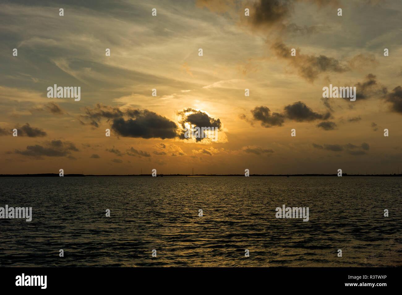 Golden hour winter sunset descends over the Florida Keys