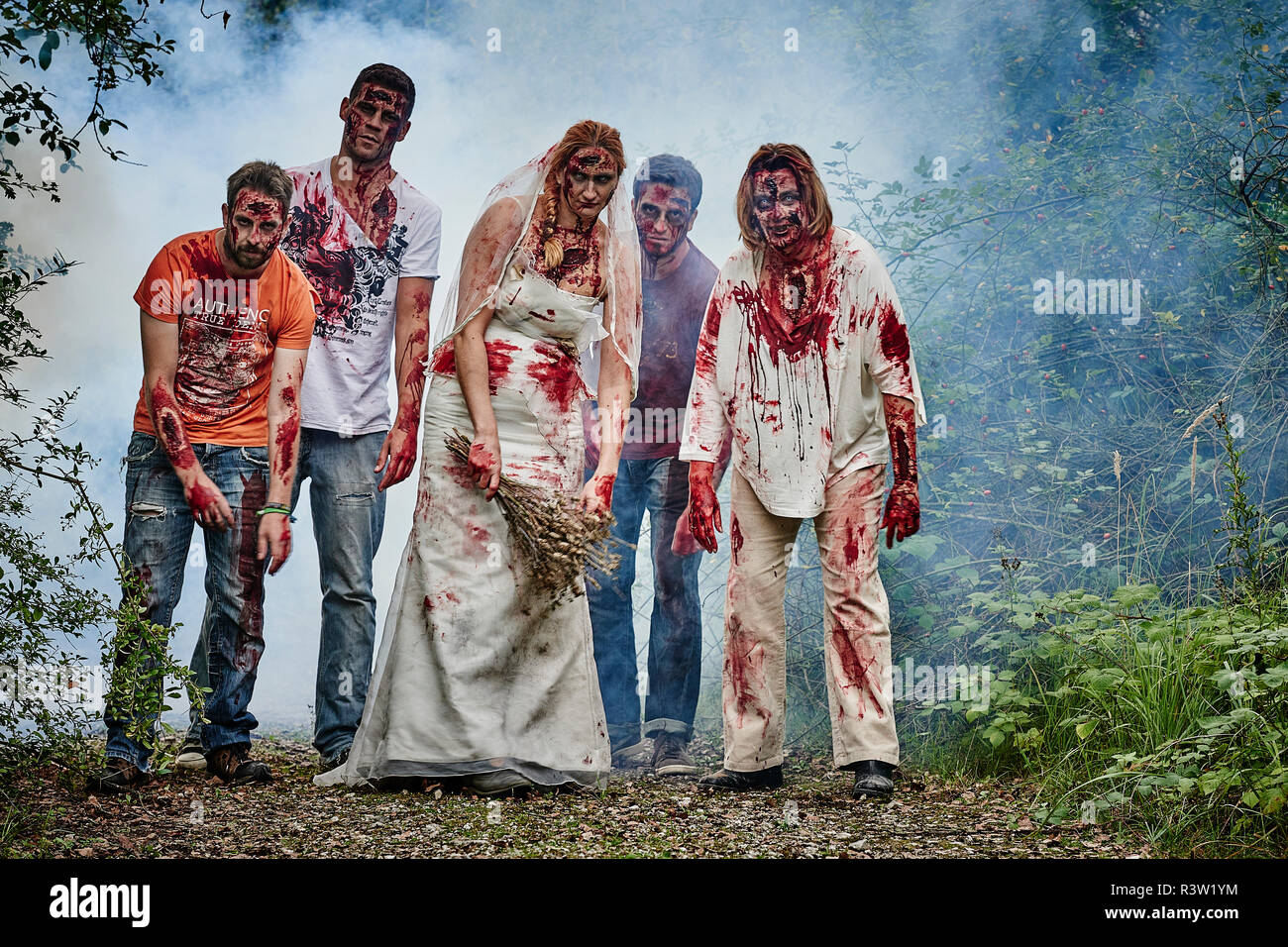 Zombie Gruppe - Stock Image