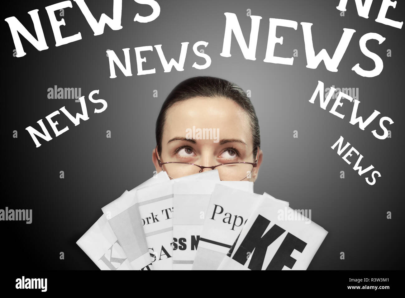 ade09786638e Young confused business woman in glasses holding newspapers with partially  shown headlines and multiple word News above her head