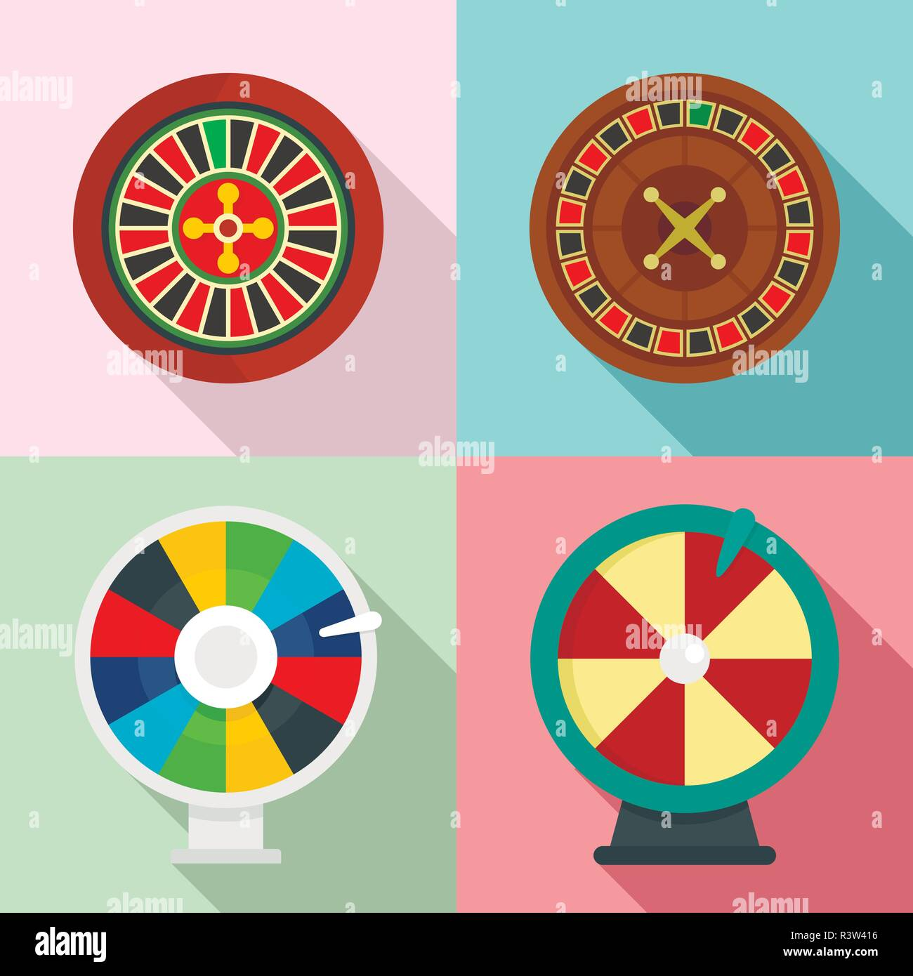 Roulette wheel fortune icons set. Flat illustration of 4 roulette wheel fortune vector icons for web - Stock Vector