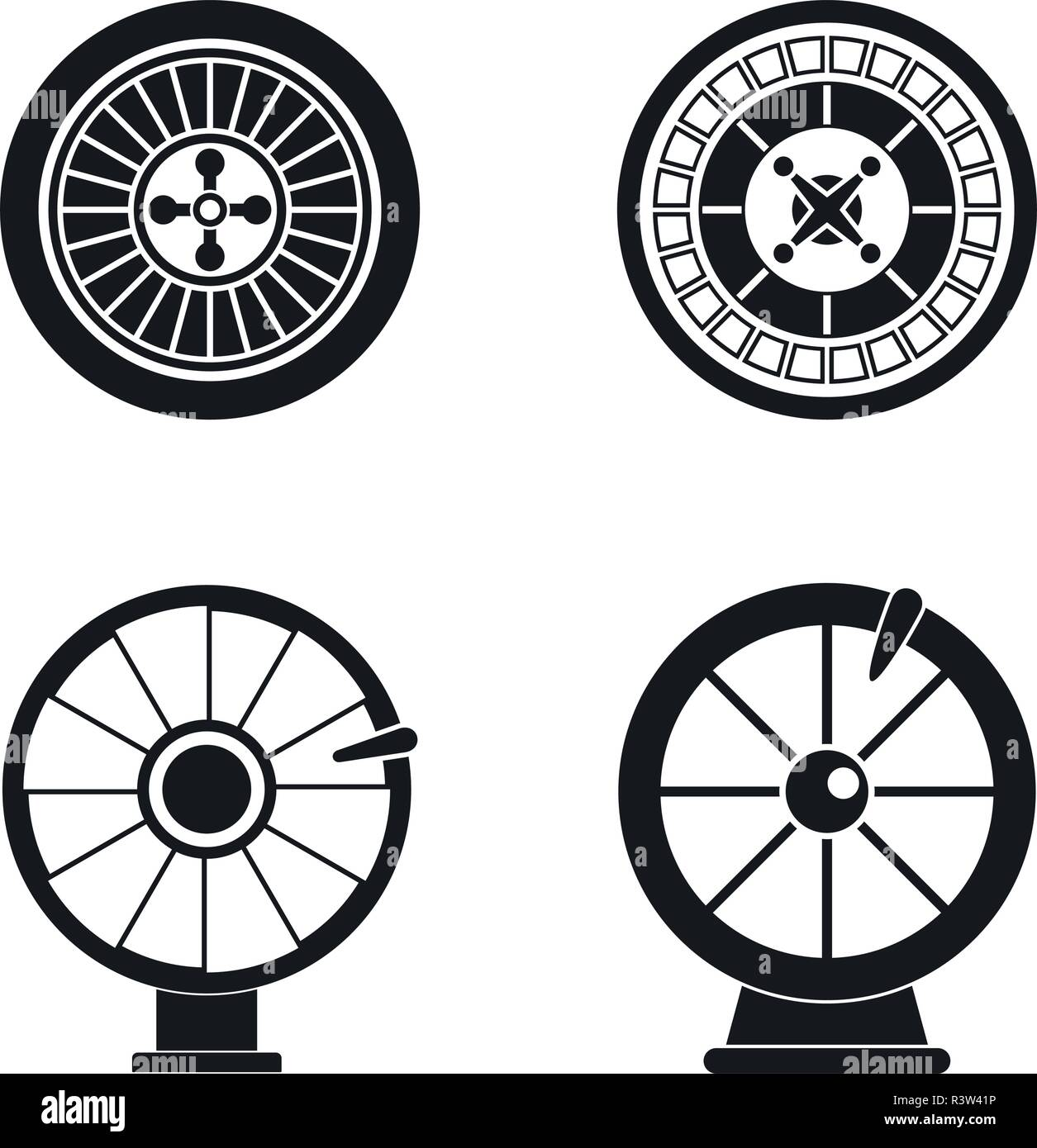 Roulette wheel fortune icons set. Simple illustration of 4 roulette wheel fortune vector icons for web - Stock Vector