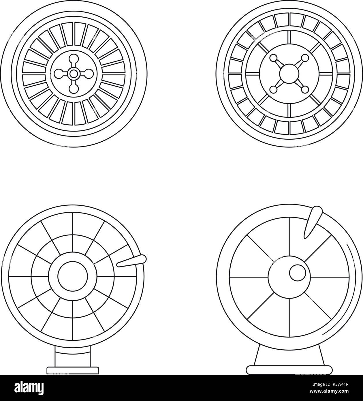 Roulette wheel fortune icons set. Outline illustration of 4 roulette wheel fortune vector icons for web - Stock Vector