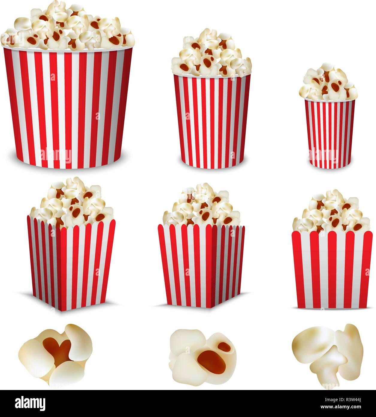 Popcorn cinema box striped mockup set. Realistic illustration of 9 popcorn cinema box striped mockups for web - Stock Image