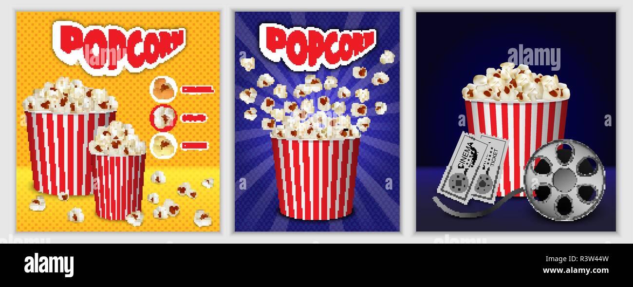 Popcorn cinema box striped banner concept set. Realistic illustration of 3 popcorn cinema box striped banner horizontal concepts for web - Stock Image