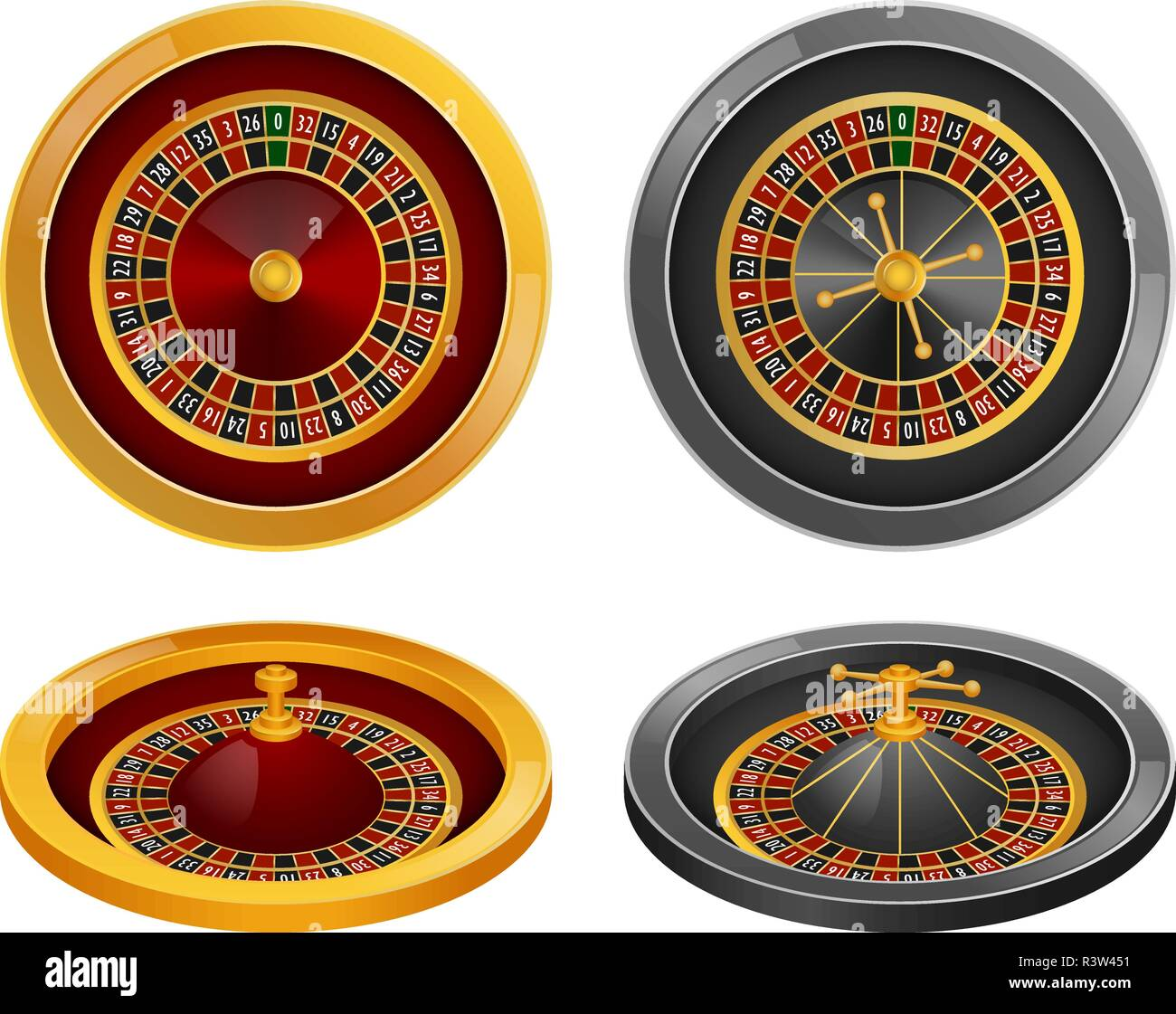 Roulette wheel fortune spin game mockup set. Realistic illustration of 4 roulette wheel fortune spin game mockups for web - Stock Vector