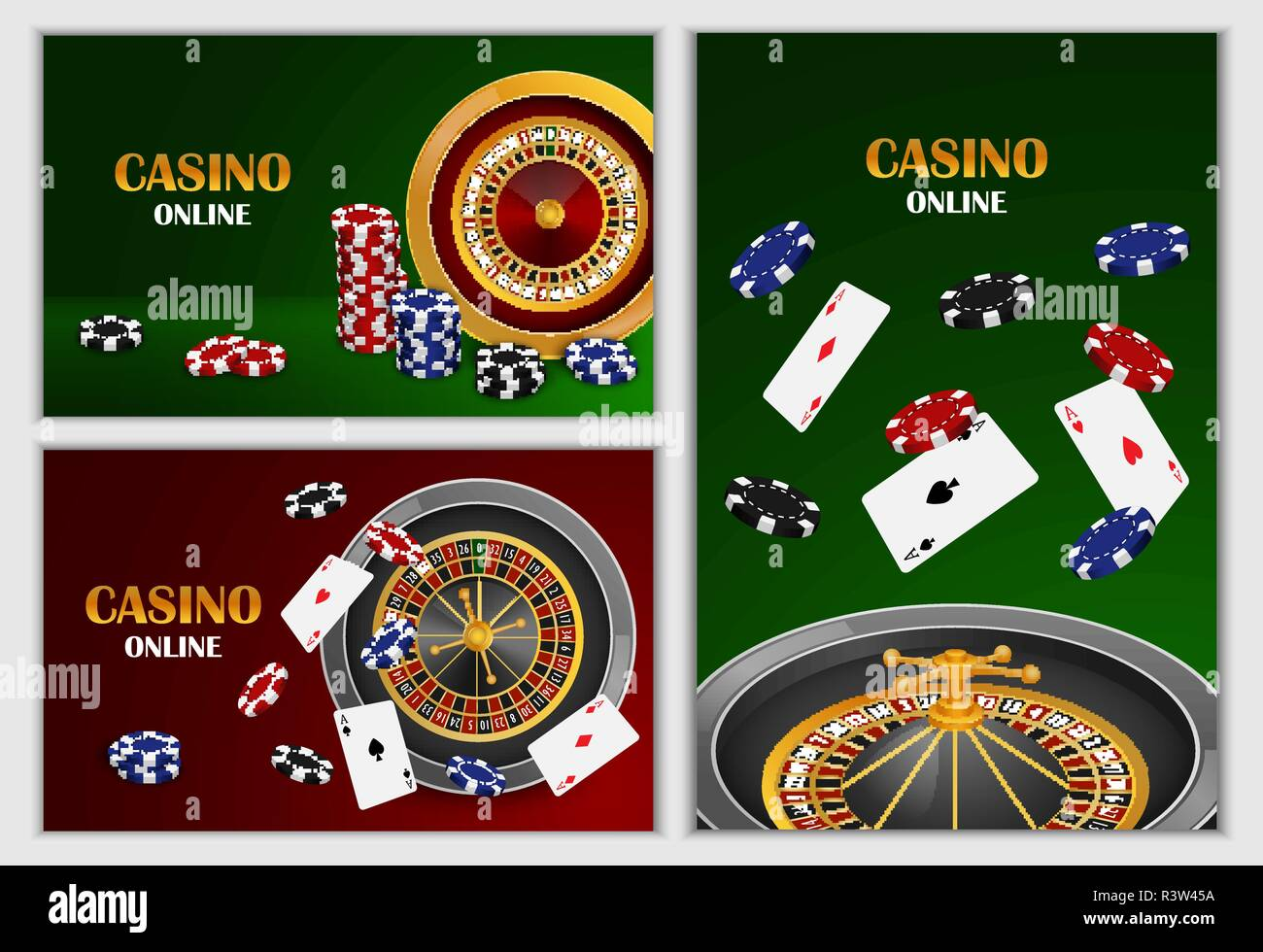 Roulette wheel fortune spin game banner concept set. Realistic illustration of 3 roulette wheel fortune spin game banner horizontal concepts for web - Stock Image