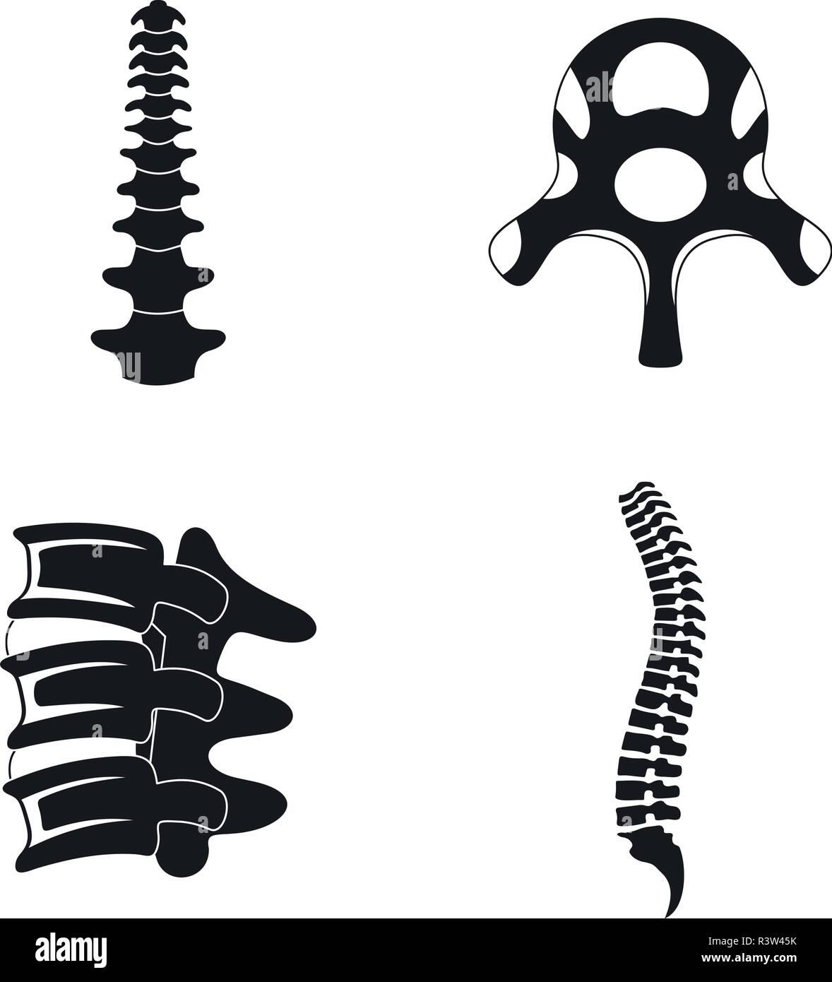 Spine orthopedic vertebra icons set. Simple illustration of 4 spine orthopedic vertebra vector icons for web - Stock Image