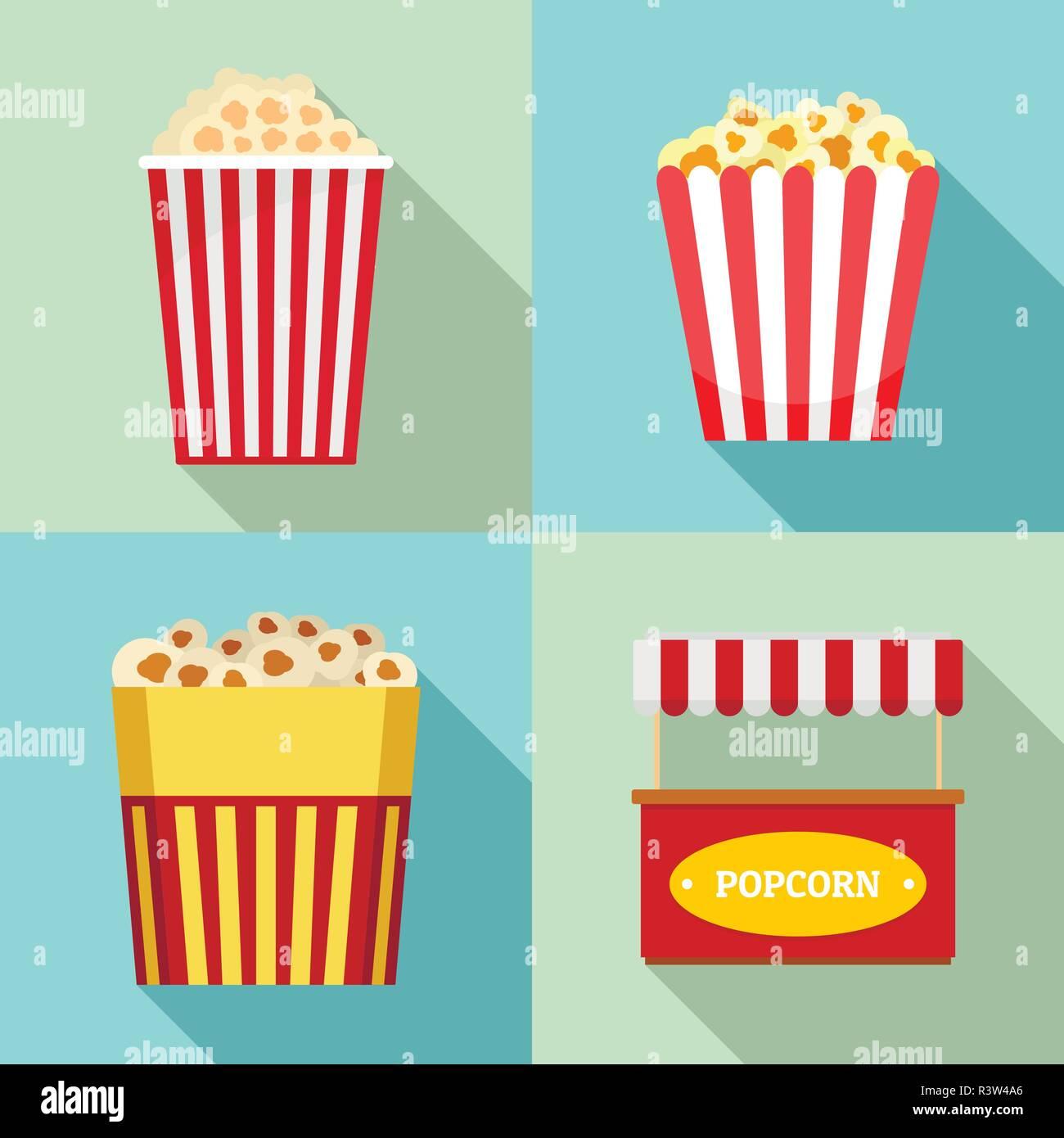 Popcorn cinema box striped icons set. Flat illustration of 4 popcorn cinema box striped vector icons for web - Stock Image