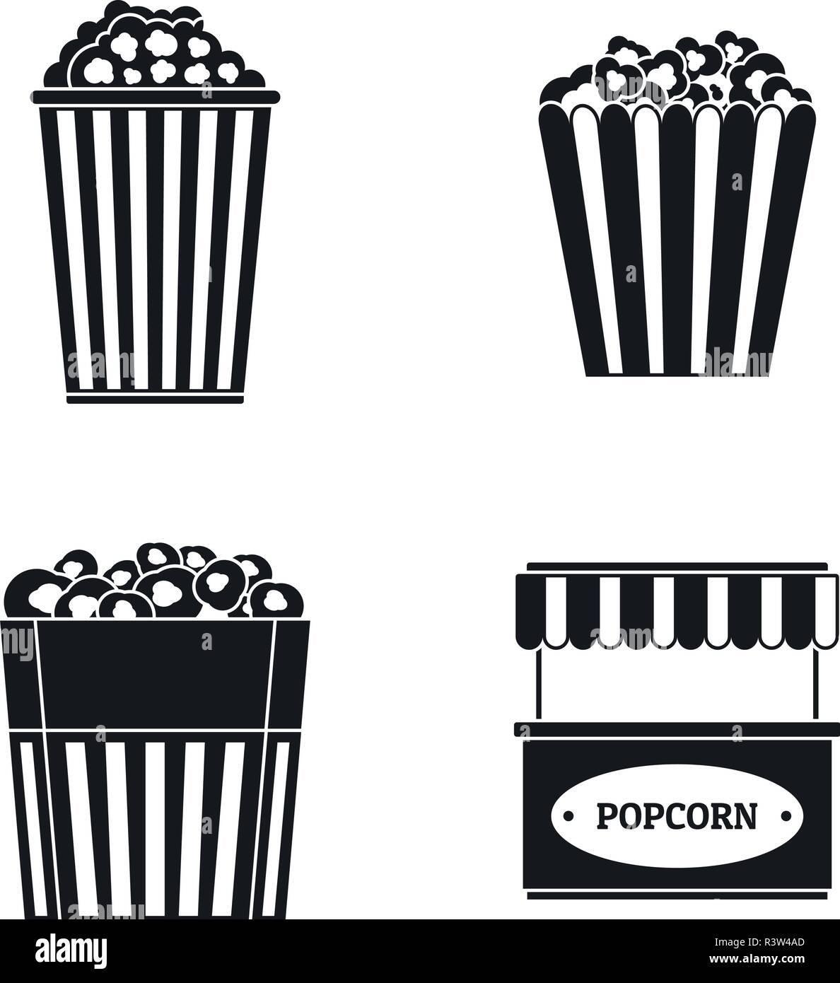 Popcorn cinema box striped icons set. Simple illustration of 4 popcorn cinema box striped vector icons for web - Stock Image
