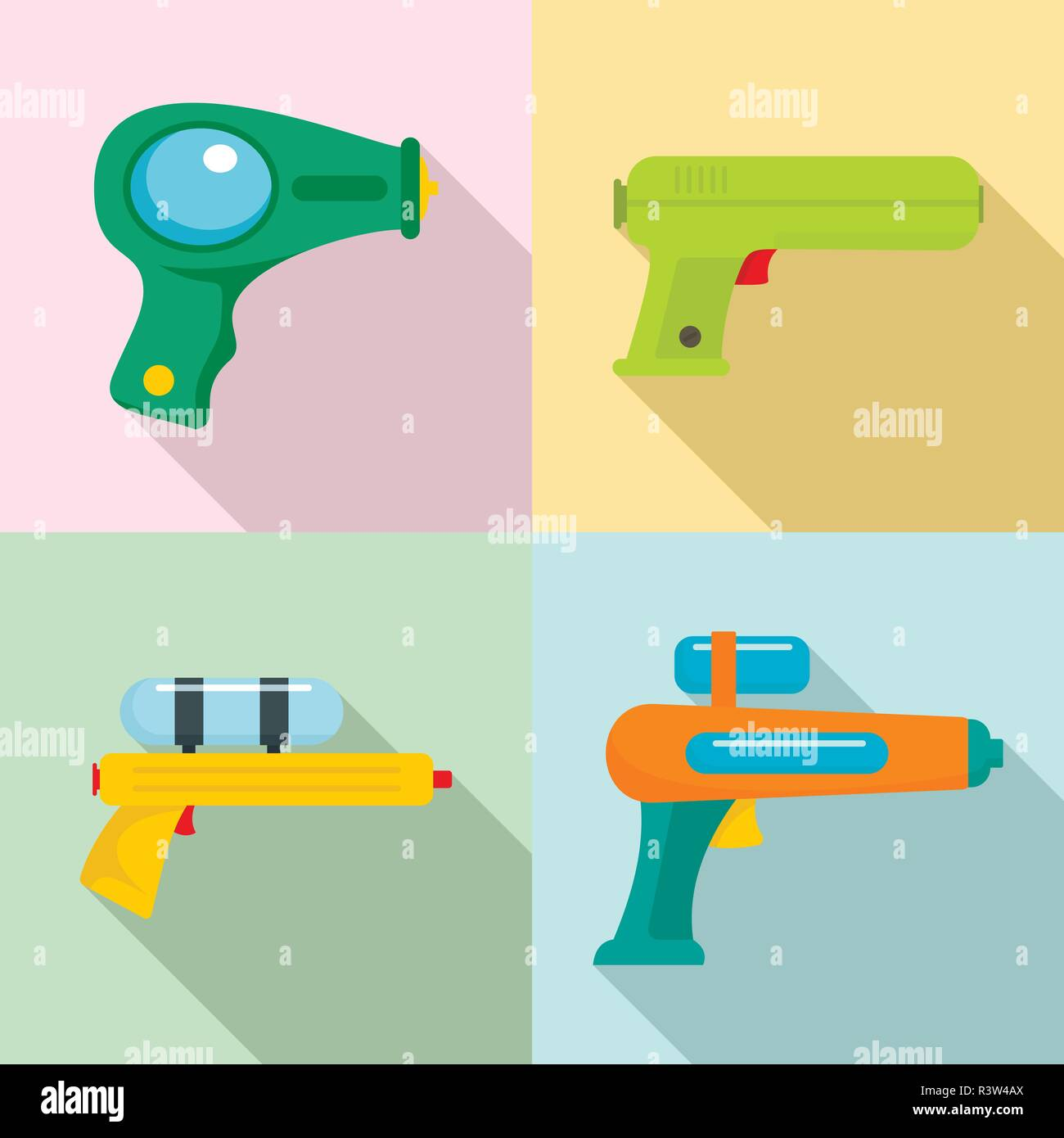 Squirt gun water pistol game icons set. Flat illustration of 4 squirt gun water pistol game vector icons for web - Stock Image