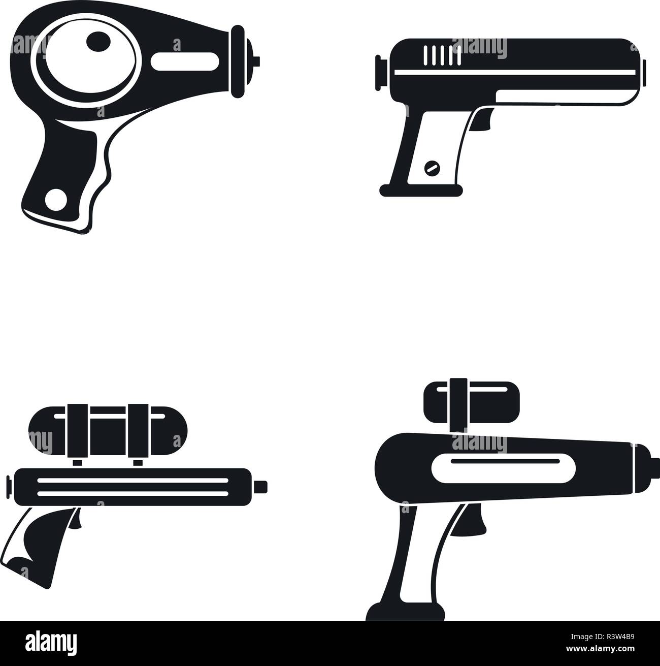 Squirt gun water pistol game icons set. Simple illustration of 4 squirt gun water pistol game vector icons for web - Stock Image