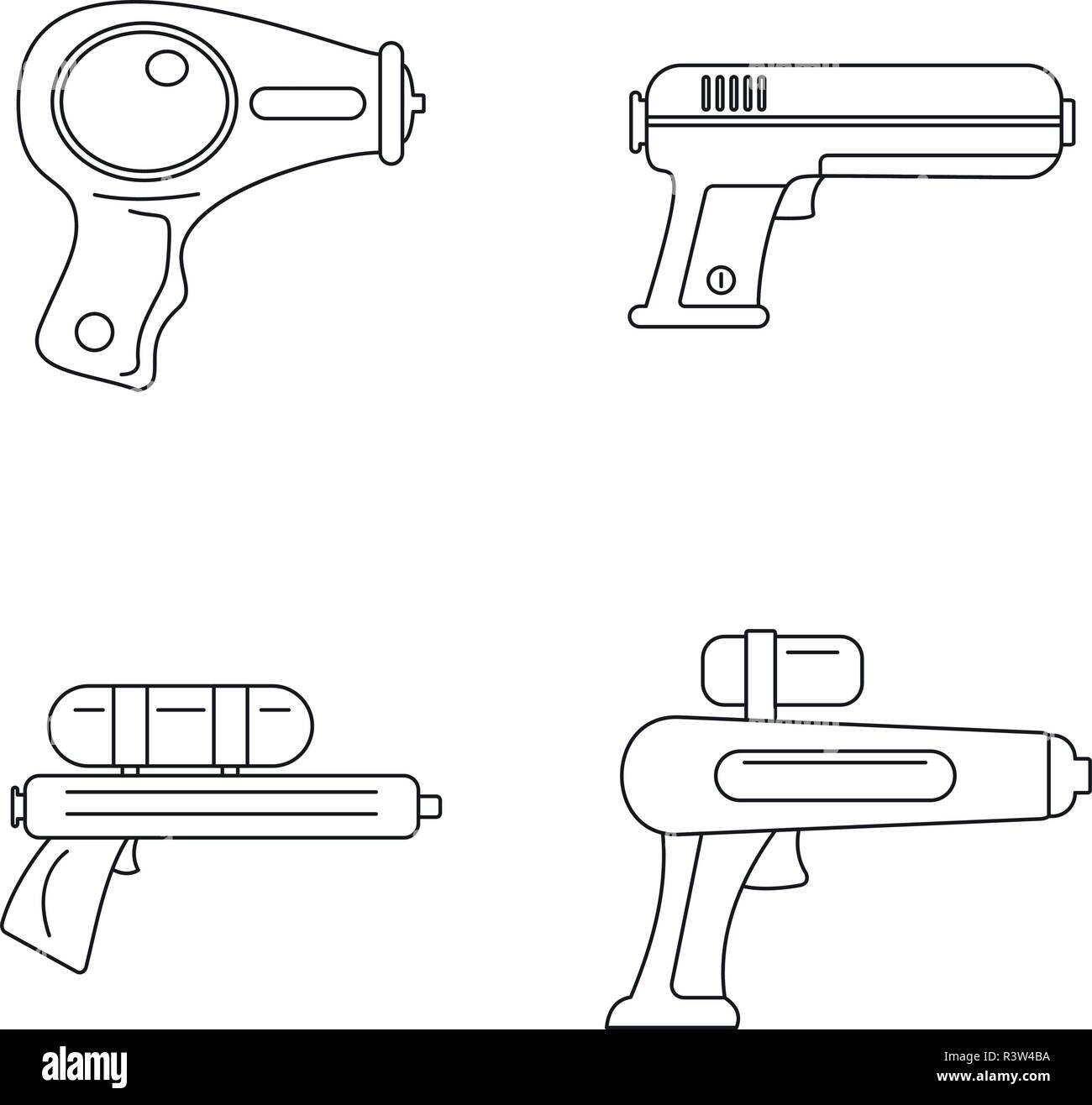 Squirt gun water pistol game icons set. Outline illustration of 4 squirt gun water pistol game vector icons for web - Stock Image