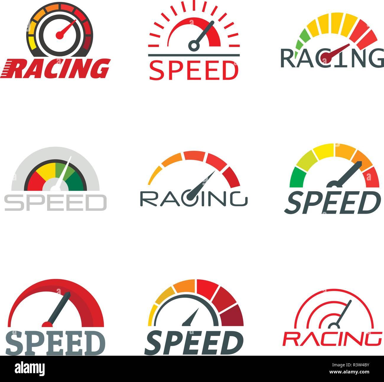 Speedometer level indicator logo set. Flat illustration of 9 speedometer level indicator vector logotypes for web - Stock Vector
