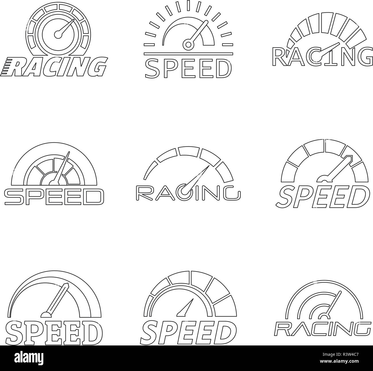 Speedometer level indicator logo set. Outline illustration of 9 speedometer level indicator vector logotypes for web - Stock Vector