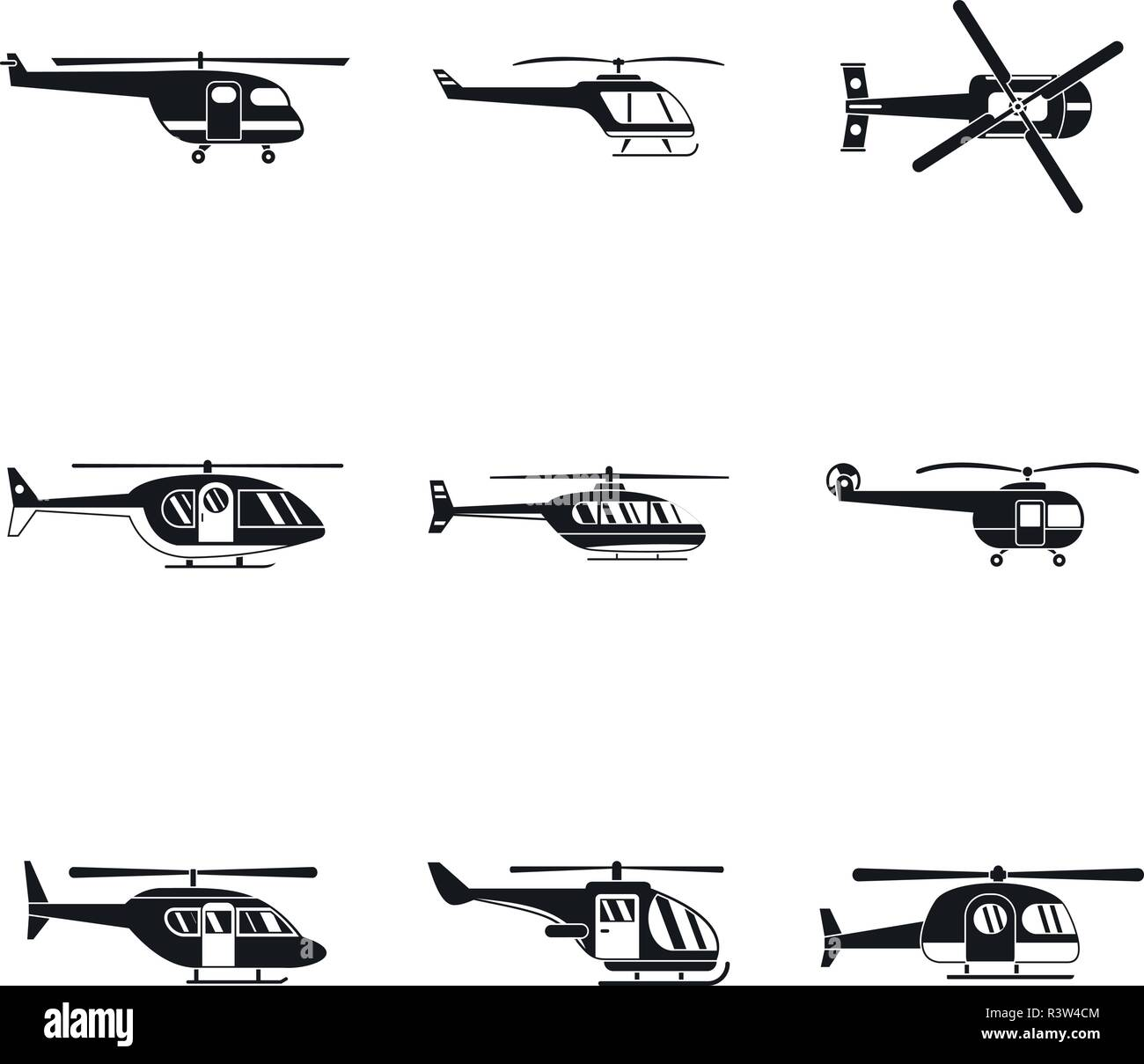 Helicopter military aircraft chopper icons set. Simple illustration of 9 helicopter military aircraft chopper vector icons for web - Stock Vector