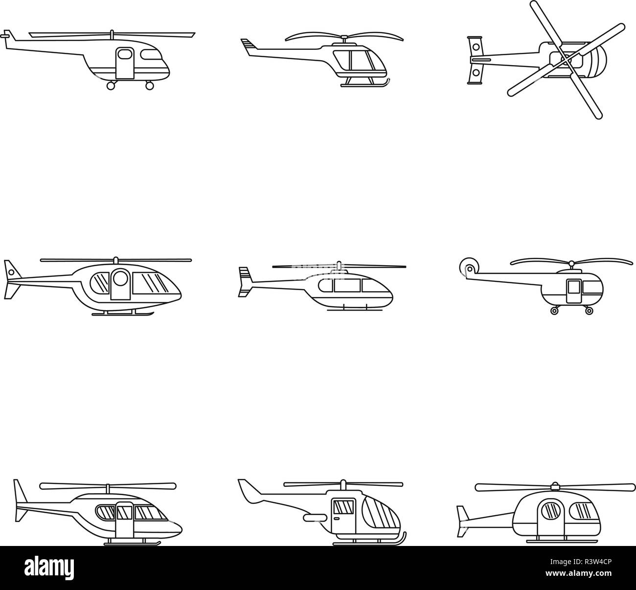 Helicopter military aircraft chopper icons set. Outline illustration of 9 helicopter military aircraft chopper vector icons for web - Stock Vector