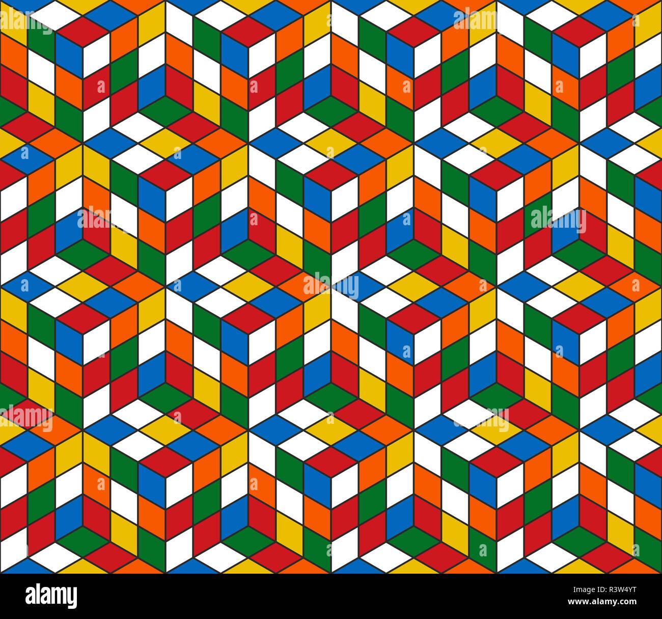 magic cube retro 80s pattern background R3W4YT