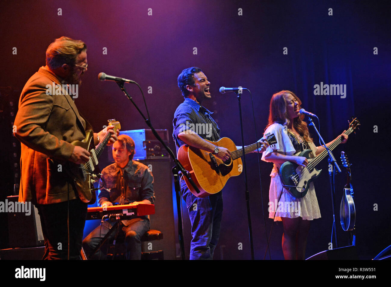 The Lone Bellow band playing at Mareel in the Shetland Isles Scotland - Stock Image