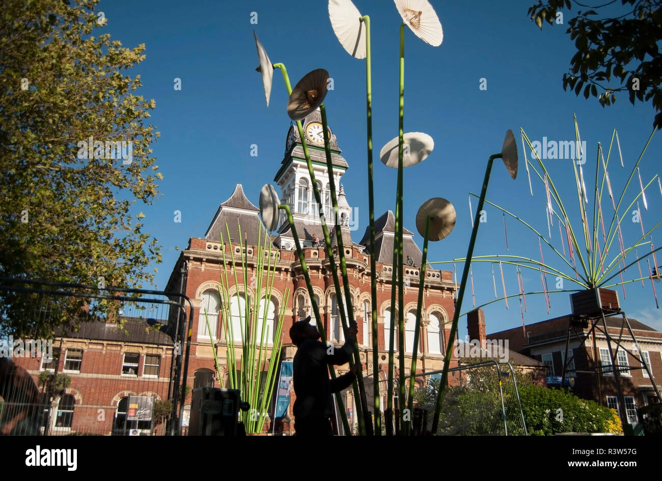 Grantham/England-September 27, 2018.Man in the dark making an installation for the Gravity fields event in front of the Guildhall Arts Centre. - Stock Image