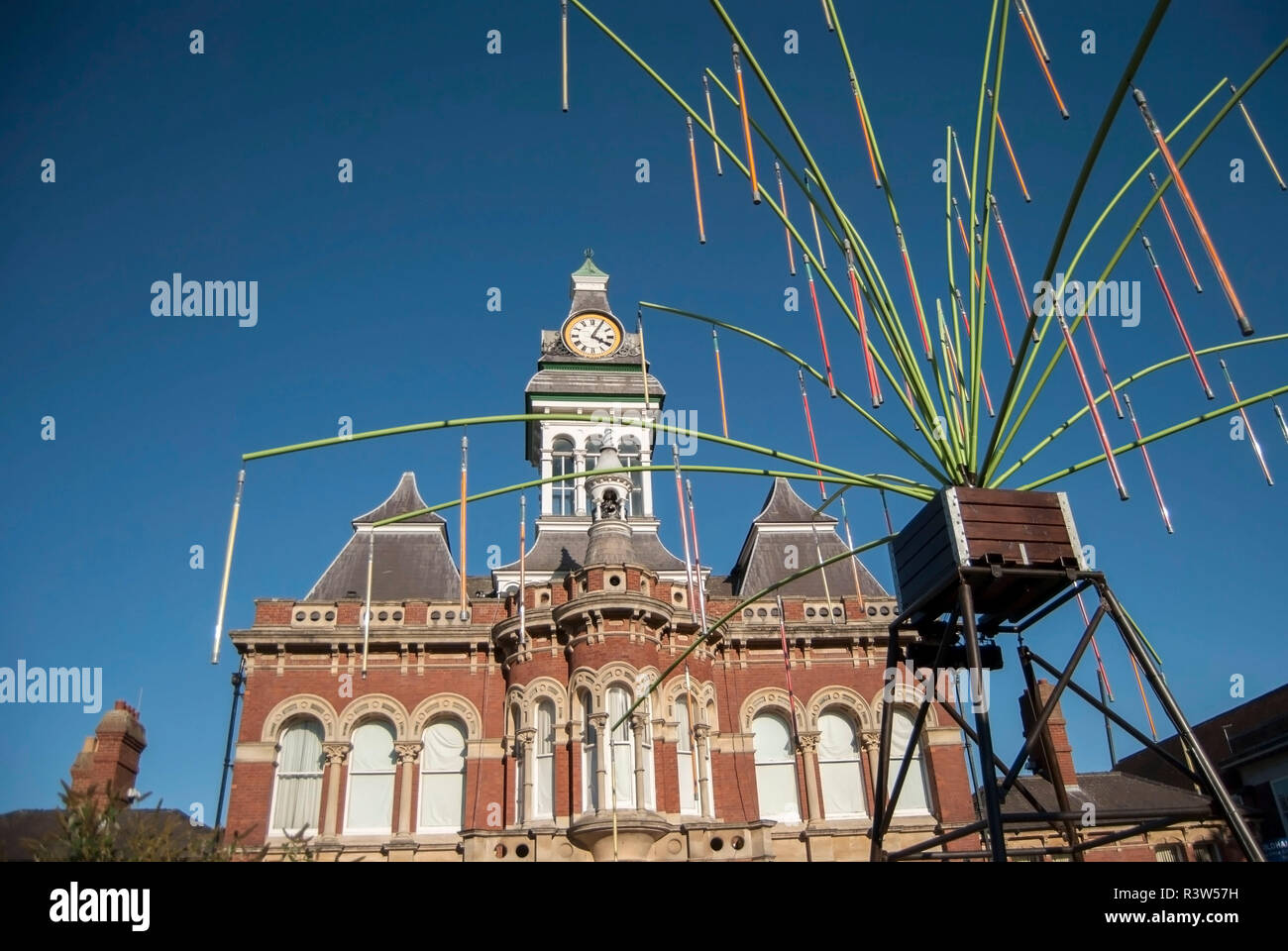 Grantham/England-September 27, 2018. Gravity fields installation in front of the Guildhall Arts Centre. - Stock Image