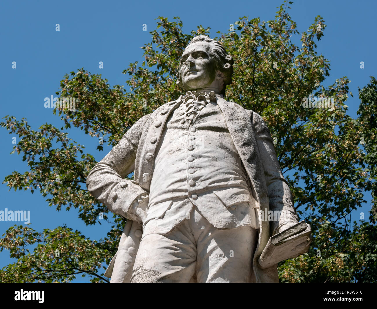 Statue of The Lessing Monument, German: Lessing-Denkmal, To Writer Gotthold Ephraim Lessing At Tiergarten in Berlin, Germany - Stock Image