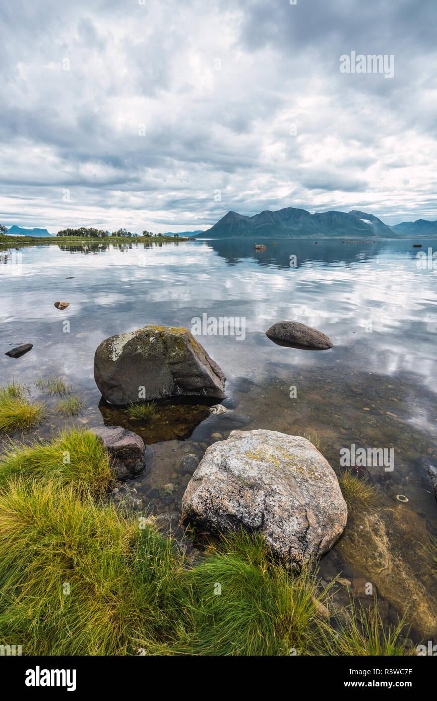 Norway, Senja island, coastal landscape - Stock Image