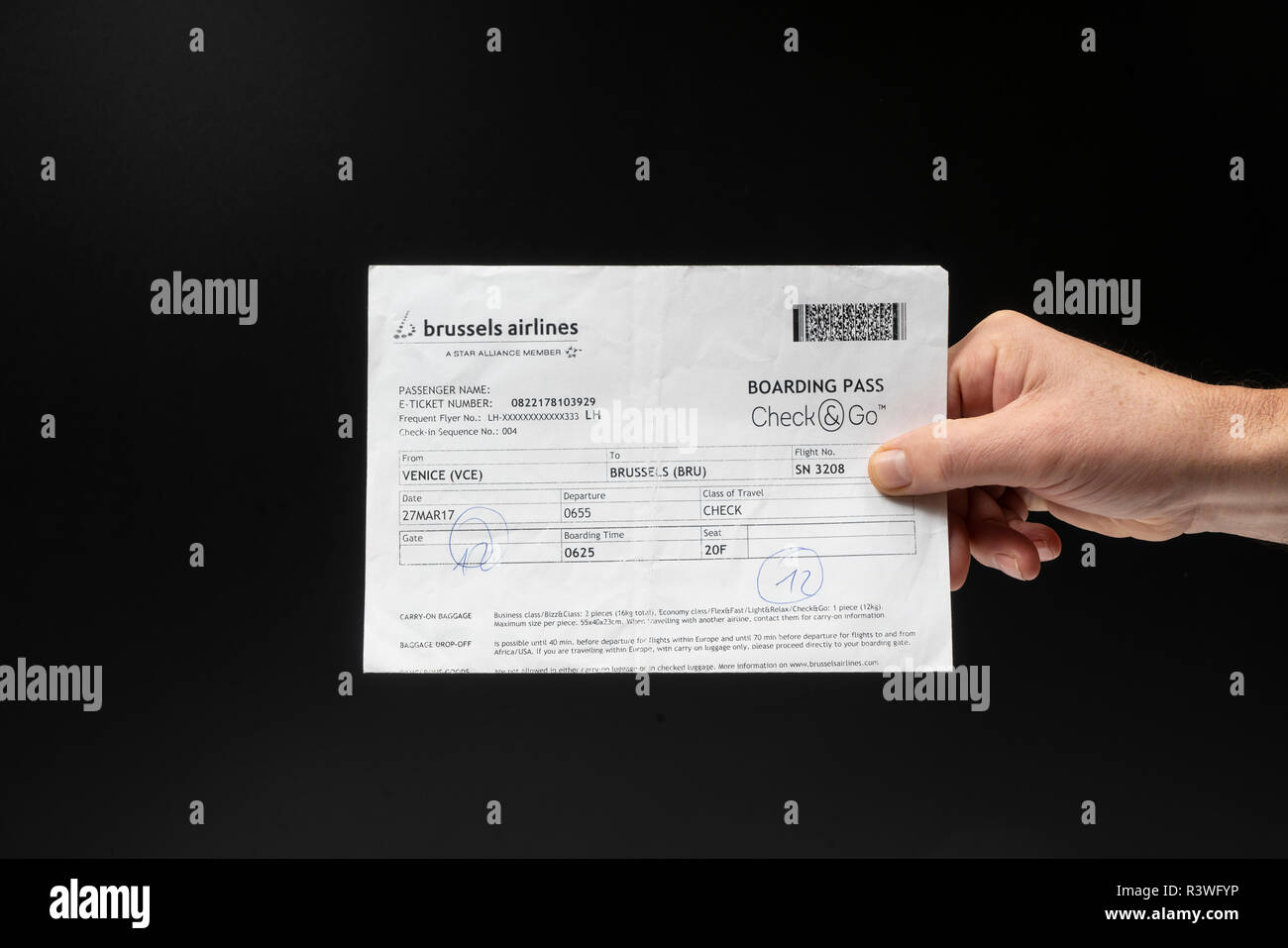 A view of Brussels Airlines boarding pass - Stock Image