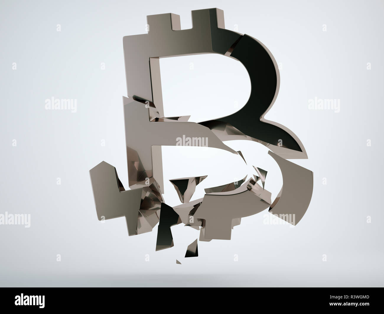 Black bitcoin symbol shattered and broken on grey background. 3d render, 3d animation Stock Photo