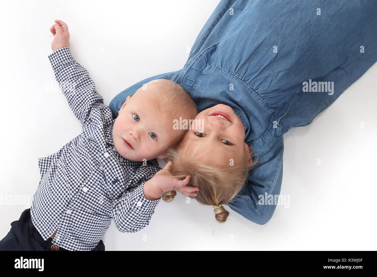 Brother and sister, family life Stock Photo