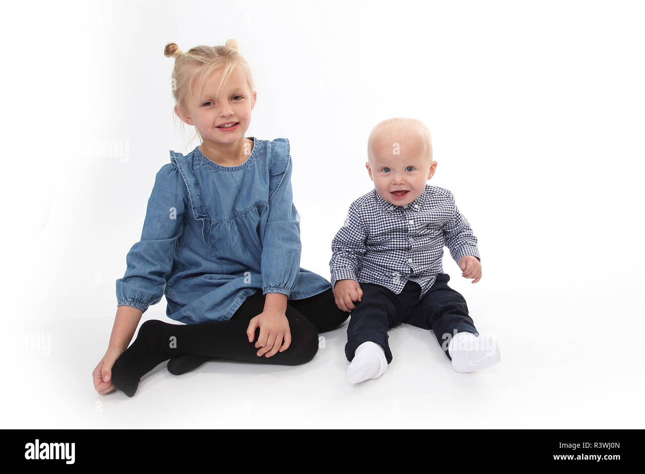 Brother and sister, family life - Stock Image