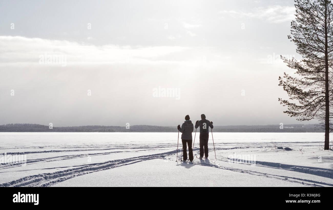 Where to? View on a lake near Posio, Lapland - Stock Image