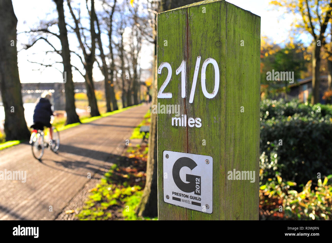 Start and finish post of the Preston Guild walking,running