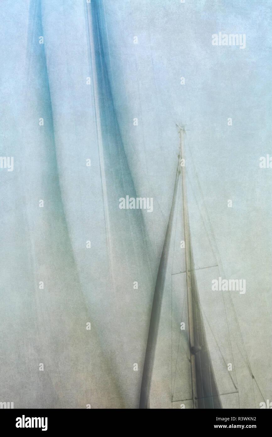 USA, California, San Diego. Abstract of sailboat on San Diego Bay (texture overlay) - Stock Image