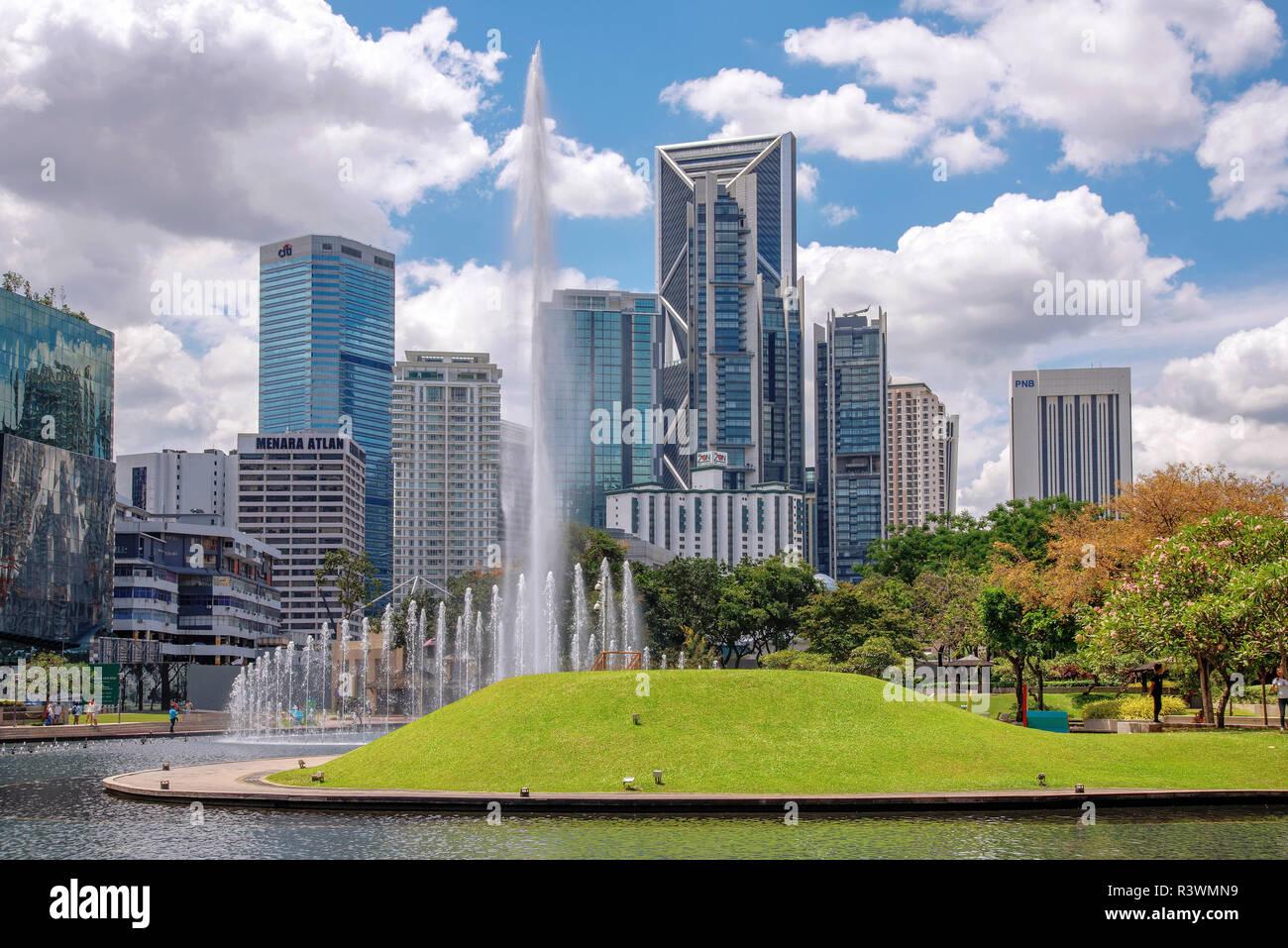Malaysia City Skyline With Famous Buildings Stock Photos