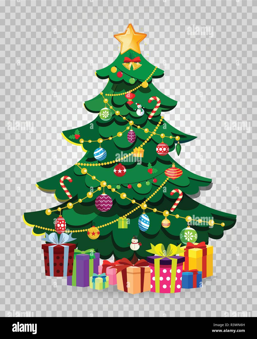 Cute cartoon decorated Christmas fir tree with many gifts