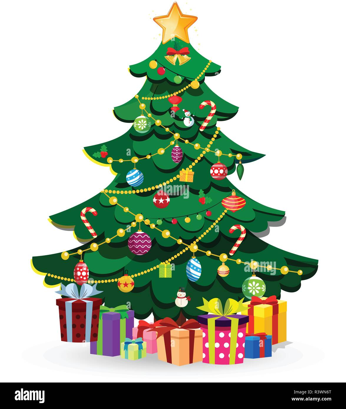 Picture Of Christmas Tree With Presents: Cute Cartoon Decorated Christmas Fir Tree With Many Gifts