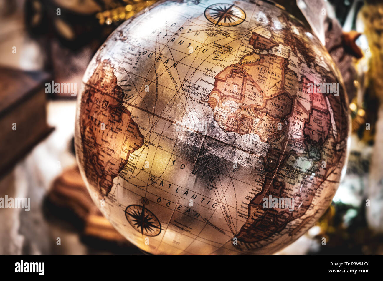 vintage globe background retro brown speia travel geography ancient map - Stock Image