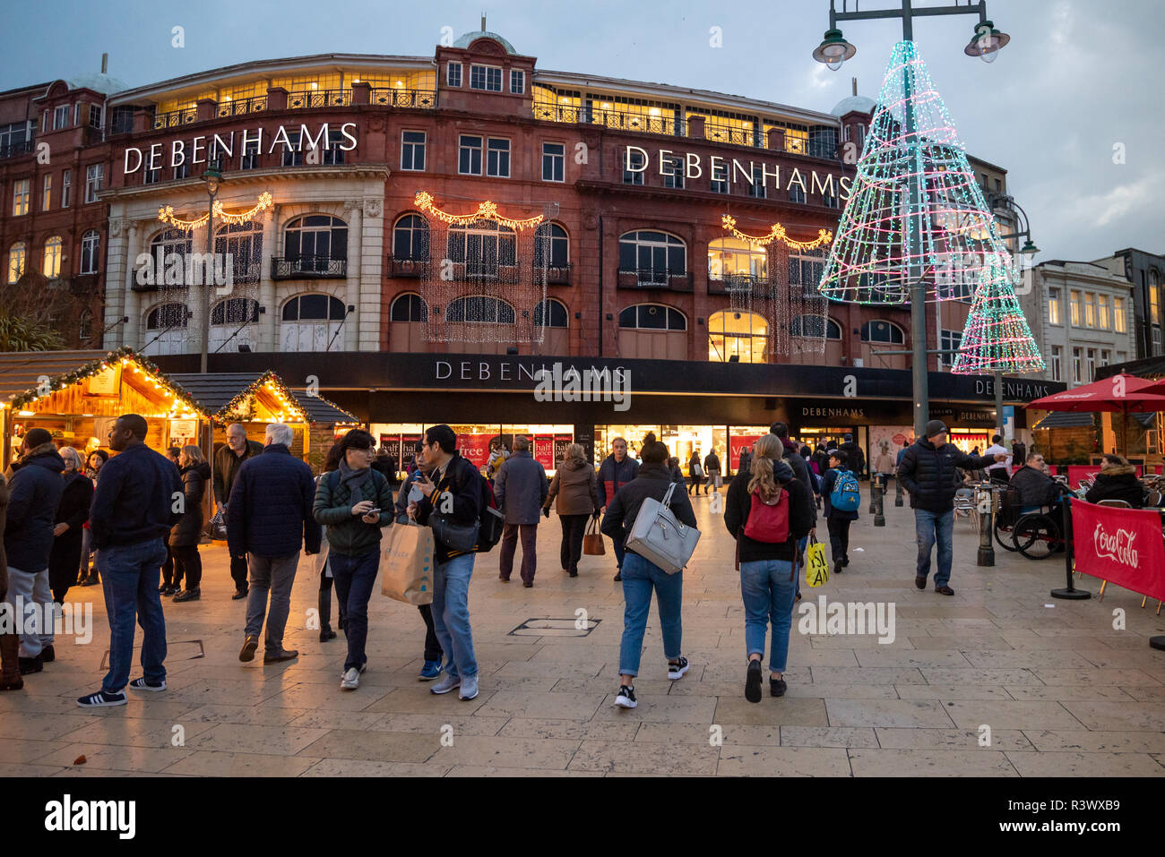Christmas Markets In Dorset 2021 Festive Scene With Shoppers And A Christmas Market The Square Bournemouth Dorset Uk Outside Debenhams Department Store Stock Photo Alamy