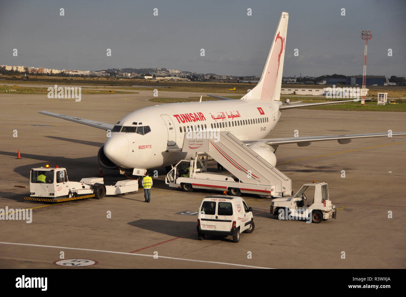 Tunesia: Tunis Air aircraft at Tunis airport - Stock Image