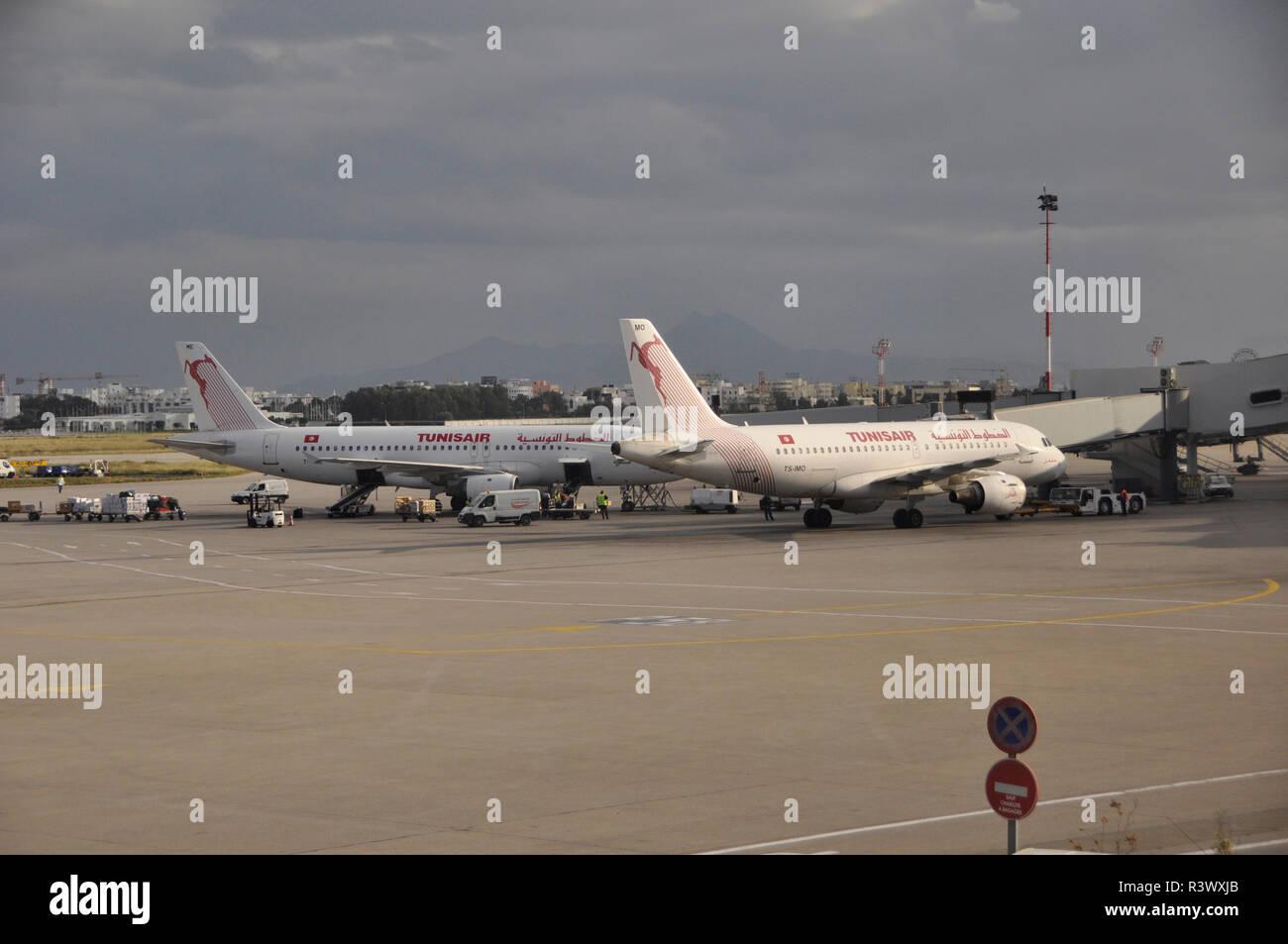 Tunesia: Tunis Air aircrafts at Tunis airport - Stock Image
