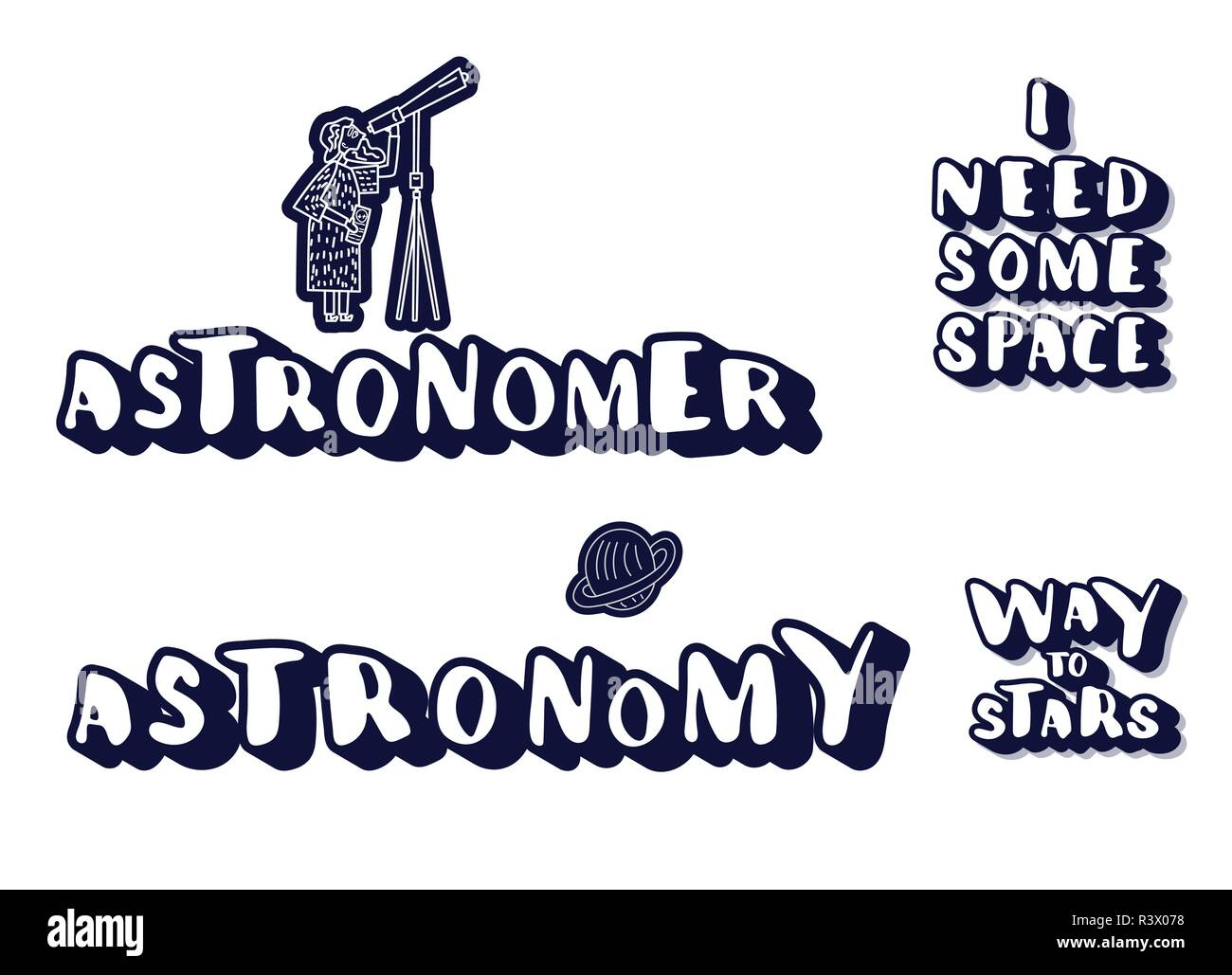 Vector quotes of Univers. Handwritten lettering stickers ...