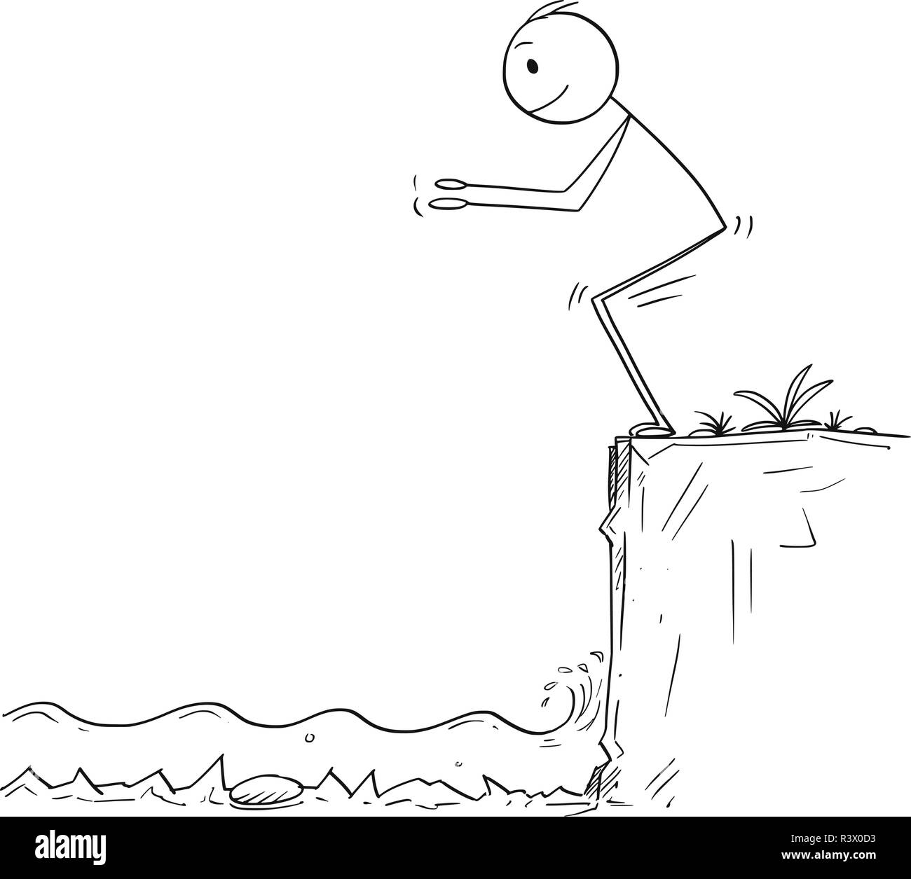 Cartoon of Man or Businessman Ready to Jump in Unknown Shallow Water - Stock Vector