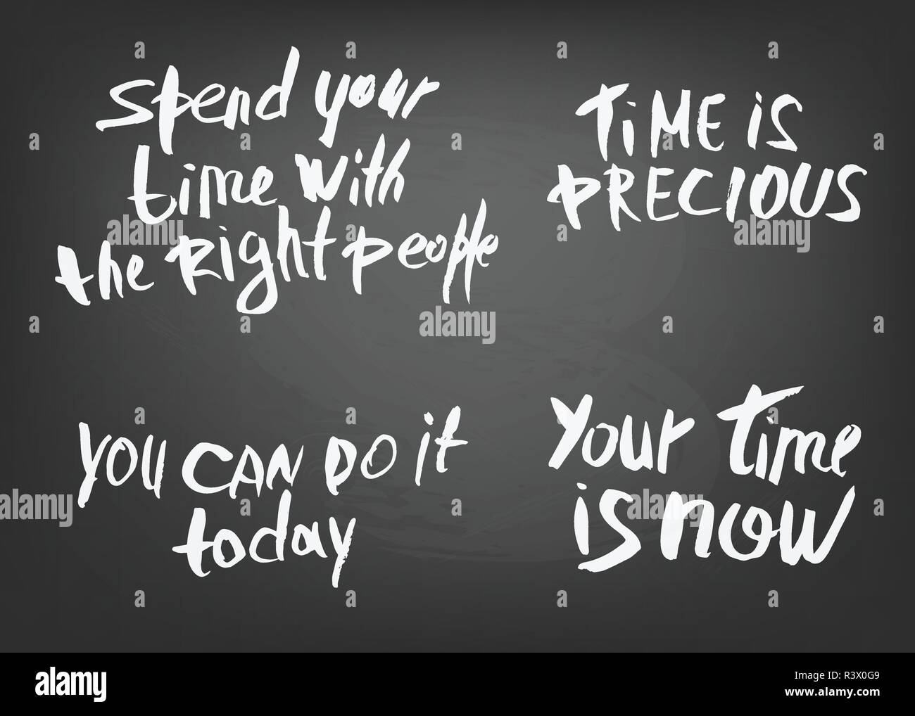 set of vector quotes about time handwritten brush lettering