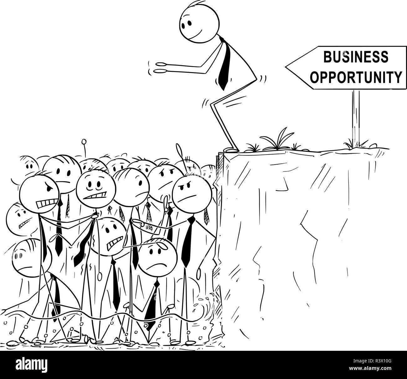 Cartoon of Businessman Looking for Business Opportunity is Ready to Jump in Shallow Water of Saturated or Oversaturated Market - Stock Image
