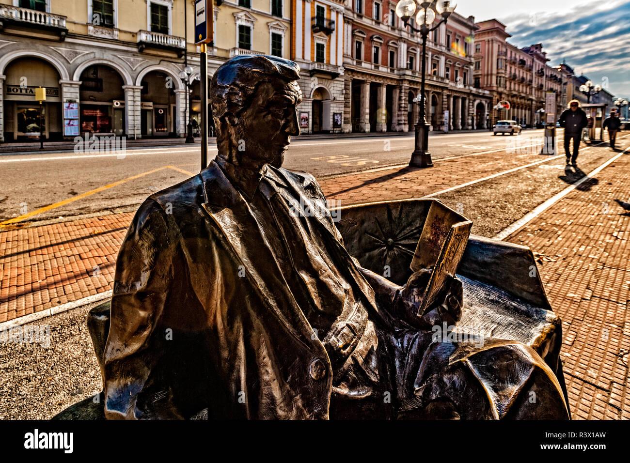 Italy Piedmont Cuneo Corso NIzza Statue from a Idea od  Antonio Sartoris and make from Gaetano Usciatta - Title ' Ulisse' - Stock Image