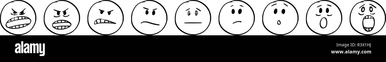 Cartoon of Set of Smiley Faces Showing Emotions From Aggression to Scare or Fear - Stock Image